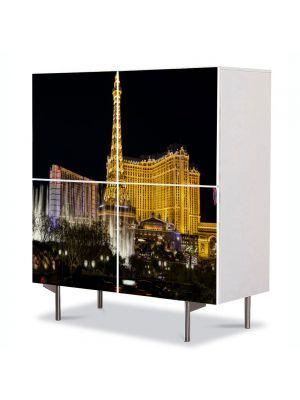 Comoda cu 4 Usi Art Work Urban Orase Las Vegas, 84 x 84 cm