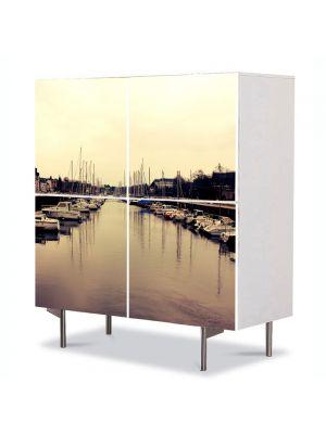 Comoda cu 4 Usi Art Work Urban Orase Port, 84 x 84 cm
