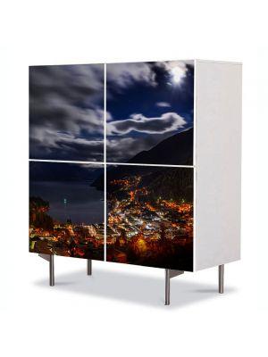 Comoda cu 4 Usi Art Work Urban Orase Panorama de noapte, 84 x 84 cm