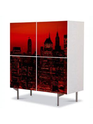Comoda cu 4 Usi Art Work Urban Orase Cer rosu in New York, 84 x 84 cm