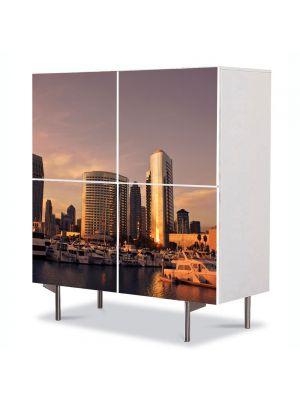 Comoda cu 4 Usi Art Work Urban Orase San Diego, 84 x 84 cm