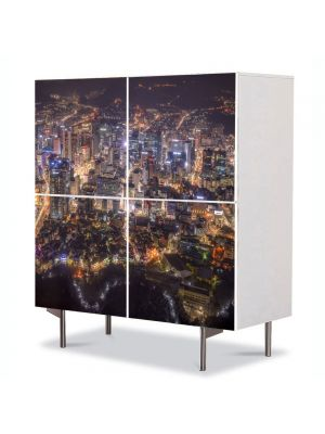 Comoda cu 4 Usi Art Work Urban Orase Seoul, 84 x 84 cm
