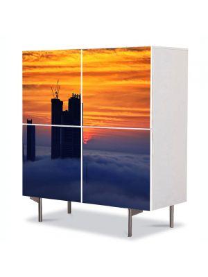 Comoda cu 4 Usi Art Work Urban Orase Abu Dhabi, 84 x 84 cm