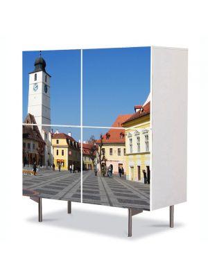 Comoda cu 4 Usi Art Work Urban Orase Sibiu Centru, 84 x 84 cm