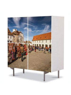 Comoda cu 4 Usi Art Work Urban Orase Piata Mica din Sibiu, 84 x 84 cm