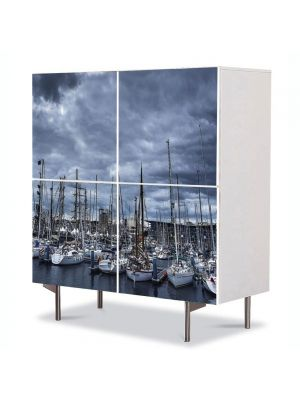Comoda cu 4 Usi Art Work Urban Orase Barci in port, 84 x 84 cm