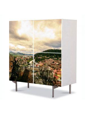 Comoda cu 4 Usi Art Work Urban Orase Sighisoara de sus, 84 x 84 cm