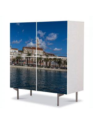 Comoda cu 4 Usi Art Work Urban Orase Panorama in orasul Split, 84 x 84 cm