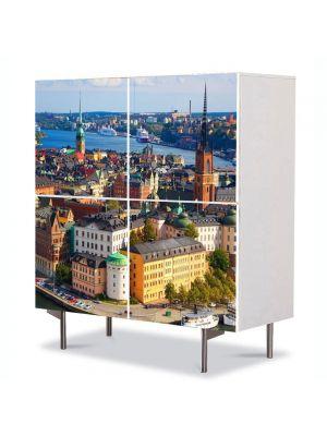 Comoda cu 4 Usi Art Work Urban Orase Stockholm Suedia, 84 x 84 cm