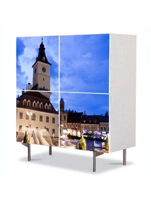 Comoda cu 4 Usi Art Work Urban Orase Piata Sfatului Brasov, 84 x 84 cm