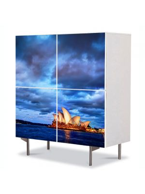 Comoda cu 4 Usi Art Work Urban Orase Opera din Sydney Australia la apus, 84 x 84 cm