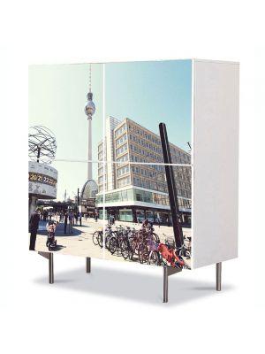 Comoda cu 4 Usi Art Work Urban Orase Turnul televiziunii in Berlin, 84 x 84 cm