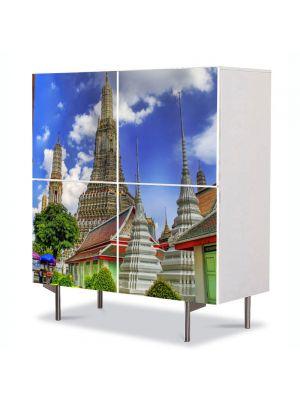 Comoda cu 4 Usi Art Work Urban Orase Templu in Bangkok Tailanda, 84 x 84 cm