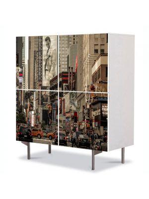 Comoda cu 4 Usi Art Work Urban Orase Agitatie in oras, 84 x 84 cm