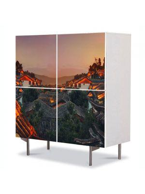 Comoda cu 4 Usi Art Work Urban Orase China la apus, 84 x 84 cm