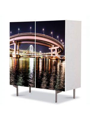 Comoda cu 4 Usi Art Work Urban Orase Podul din Tokyo, 84 x 84 cm