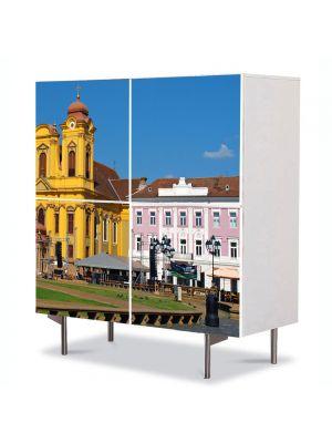 Comoda cu 4 Usi Art Work Urban Orase Piata Unirii Timisoara, 84 x 84 cm