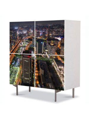 Comoda cu 4 Usi Art Work Urban Orase Tokyo, 84 x 84 cm