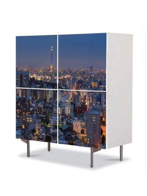 Comoda cu 4 Usi Art Work Urban Orase Apus in Tokyo, 84 x 84 cm