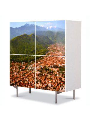Comoda cu 4 Usi Art Work Urban Orase Brasov imagine de ansamblu, 84 x 84 cm
