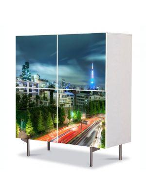 Comoda cu 4 Usi Art Work Urban Orase Seara in tokyo, 84 x 84 cm