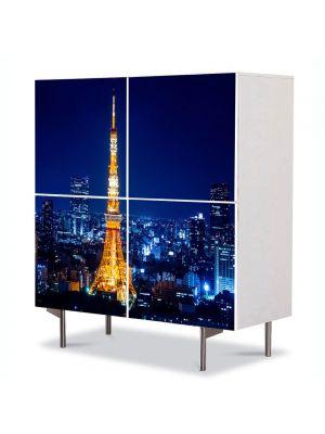 Comoda cu 4 Usi Art Work Urban Orase Turnul Tokyo Noaptea, 84 x 84 cm