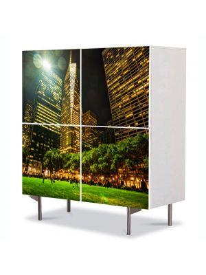 Comoda cu 4 Usi Art Work Urban Orase Parc in New York, 84 x 84 cm