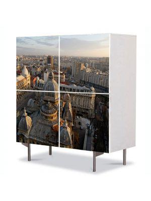 Comoda cu 4 Usi Art Work Urban Orase Centrul Bucurestiului de sus, 84 x 84 cm
