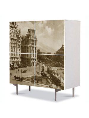 Comoda cu 4 Usi Art Work Urban Orase Bucuresti Piata Senatului, 84 x 84 cm