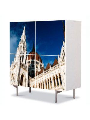 Comoda cu 4 Usi Art Work Urban Orase Parlamentul din Budapesta Ungaria, 84 x 84 cm