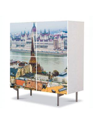 Comoda cu 4 Usi Art Work Urban Orase Dunarea in Budapesta, 84 x 84 cm