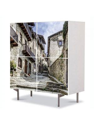 Comoda cu 4 Usi Art Work Urban Orase Orasul Catalunia in Spania, 84 x 84 cm