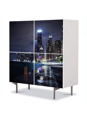 Comoda cu 4 Usi Art Work Urban Orase Chicago Illinois, 84 x 84 cm