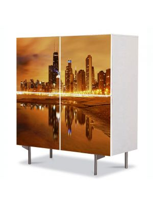Comoda cu 4 Usi Art Work Urban Orase Apus in Chicago USA, 84 x 84 cm