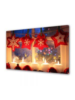 Tablou Canvas Iarna Luminite la geam
