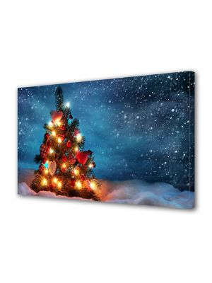 Tablou Canvas Iarna Luminite in brad