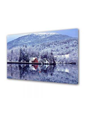 Tablou Canvas Iarna Cabana pe lac
