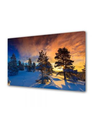Tablou Canvas Iarna Apus dupa copaci