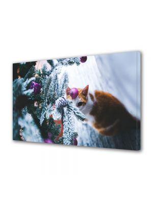 Tablou Canvas Iarna Pisica festiva