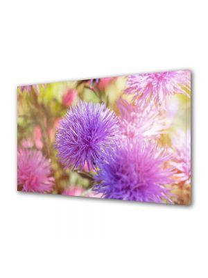 Tablou Canvas Luminos in intuneric VarioView LED Flori Flori pufoase violet