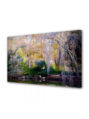 Tablou Canvas Flori Copaci infloriti pe malul lacului