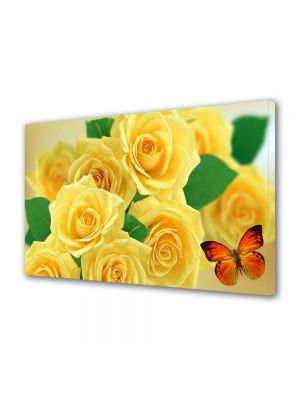 Tablou Canvas Flori Trandafiri galbeni si fluturi