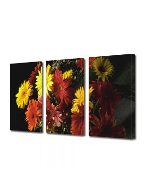 Set Tablouri Multicanvas 3 Piese Flori Buchet colorat