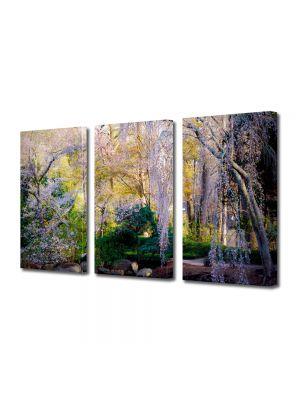 Set Tablouri Multicanvas 3 Piese Flori Copaci infloriti pe malul lacului