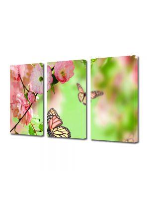 Set Tablouri Multicanvas 3 Piese Flori Fluturi