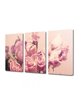 Set Tablouri Multicanvas 3 Piese Flori Buchet de trandafiri roz
