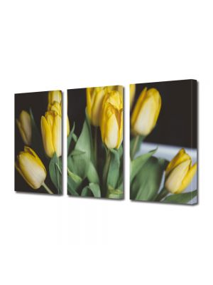 Set Tablouri Multicanvas 3 Piese Flori Buchet lalele galbene