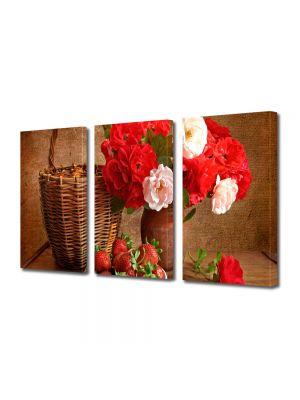 Set Tablouri Multicanvas 3 Piese Flori Aranjament cu flori
