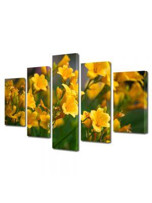 Set Tablouri Multicanvas 5 Piese Flori Liliac Galben