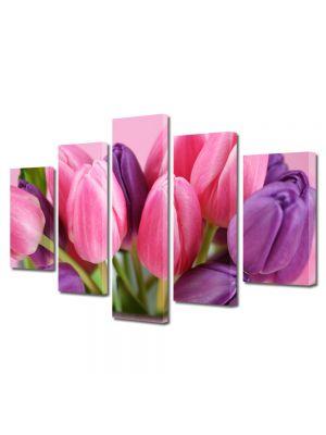 Set Tablouri Multicanvas 5 Piese Flori Lalele violet si roz